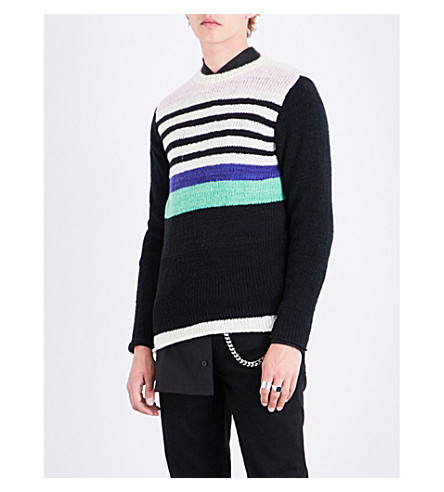 THE ELDER STATESMAN Striped cashmere jumper (Black+multi