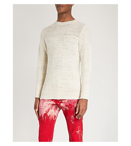 THE ELDER STATESMAN Squares knitted cashmere jumper (White