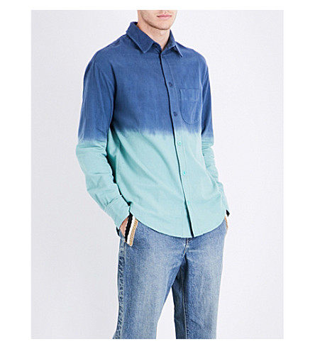 THE ELDER STATESMAN Dyed regular-fit brushed-cotton shirt (Navy+mint