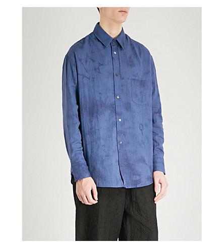 THE ELDER STATESMAN Tie-dye oversized cotton shirt (Blue