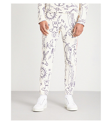 THE ELDER STATESMAN Graphic-print cotton-fleece jogging bottoms (Off+white