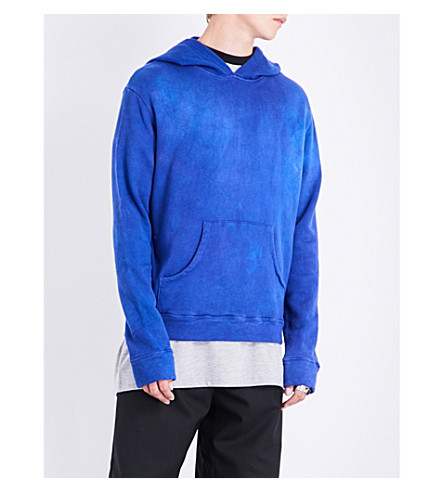 THE ELDER STATESMAN Fleece cotton hoody (Crazy+blue
