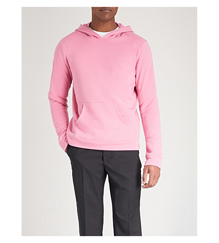 THE ELDER STATESMAN Fleece cotton hoody (Pink+holiday