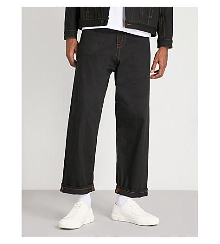 CRAIG GREEN Eyelet-detail loose-fit wide jeans (Black