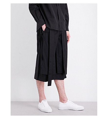 CRAIG GREEN Panel-overlay wool shorts (Black