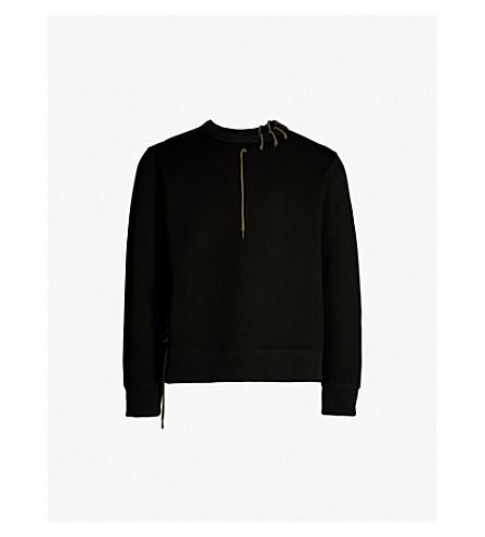 CRAIG GREEN Laced jersey sweatshirt (Black+khaki