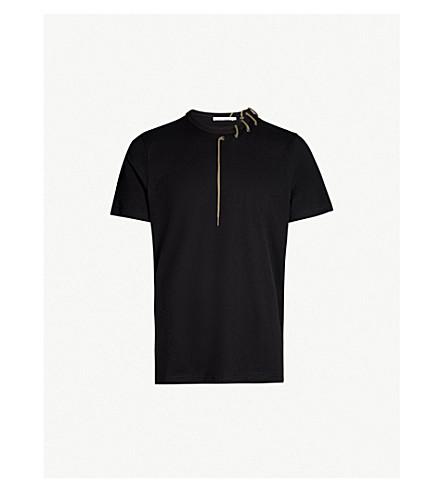 CRAIG GREEN Laced cotton-jersey T-shirt (Black/khaki