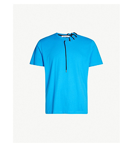 CRAIG GREEN Laced cotton-jersey T-shirt (Electric blue