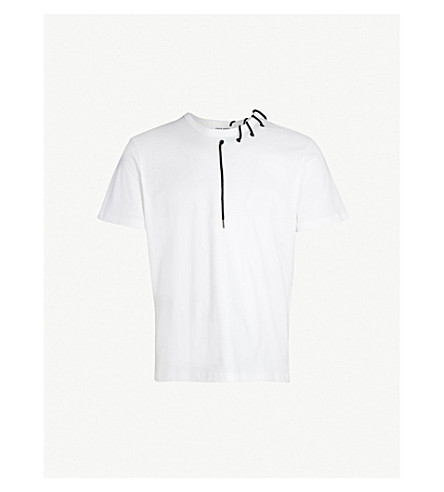 CRAIG GREEN Laced cotton-jersey T-shirt (White