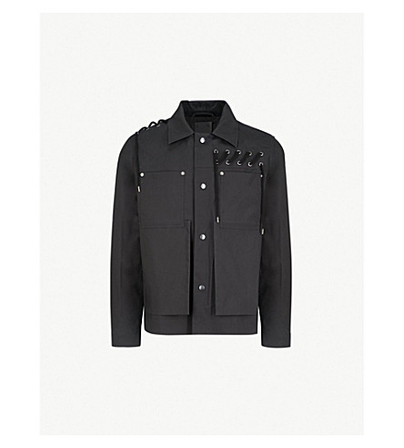 CRAIG GREEN Laced bonded-cotton jacket (Black