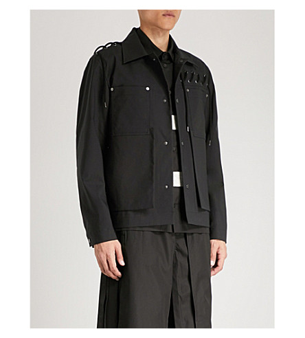 CRAIG GREEN Laced bonded-cotton jacket (Black