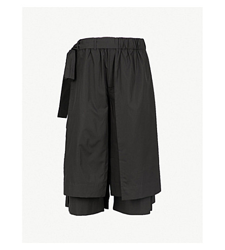 CRAIG GREEN Wide-leg regular-fit cotton-poplin shorts (Black