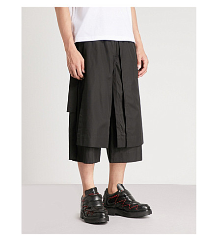 CRAIG GREEN Wide-leg regular-fit cotton-poplin shorts (Black