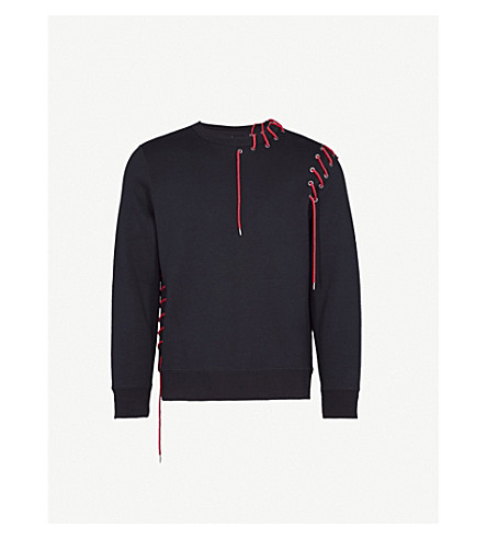 CRAIG GREEN Lamyland lace-up jersey sweatshirt (Black red