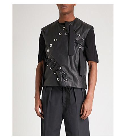 CRAIG GREEN Lamyland lace-up leather vest (Black+black