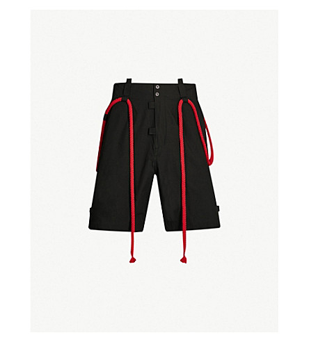 CRAIG GREEN Rope-embellished straight cotton-crepe shorts (Black