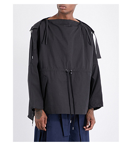 CRAIG GREEN Boat-neck cotton-blend hoody (Black