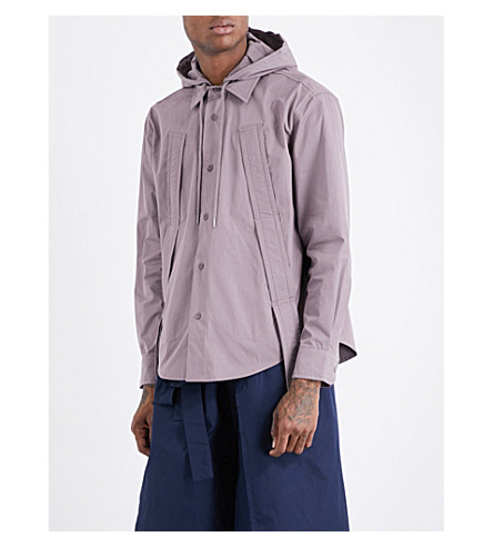 CRAIG GREEN Hooded cotton-blend shirt (Mauve