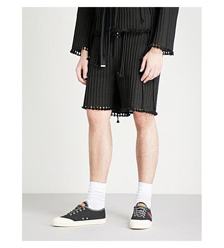 CRAIG GREEN Tasselled textured-cotton shorts (Black
