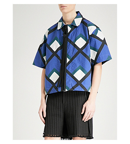 CRAIG GREEN Geometric-print cotton-appliqué shirt (Blue+white