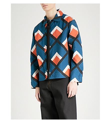 CRAIG GREEN Geometric-pattern cotton-appliqué jacket (Orange+blue