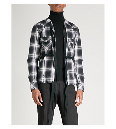 THE SOLOIST Self-tie checked regular-fit cotton-blend shirt (Black