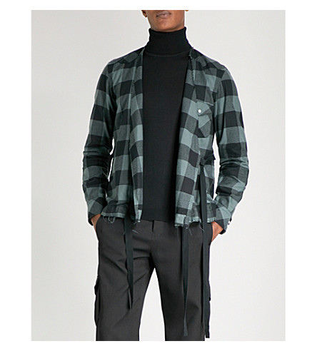 THE SOLOIST Self-tie checked regular-fit cotton-blend shirt (Black+green