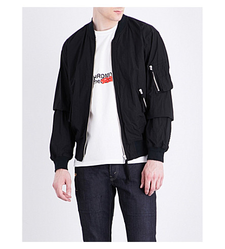 THE SOLOIST Zip-detail cotton bomber jacket (Black