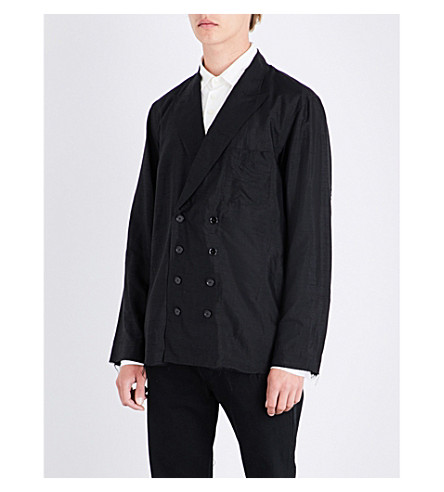 THE SOLOIST Frayed-hem double-breasted satin shirt (Black