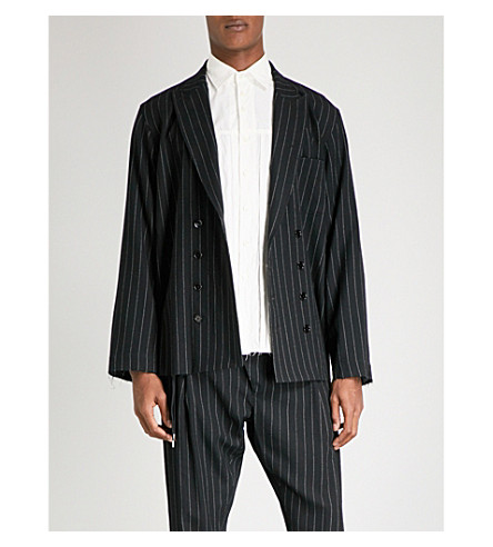 THE SOLOIST Oversized pinstriped double-breasted wool blazer (Black+white