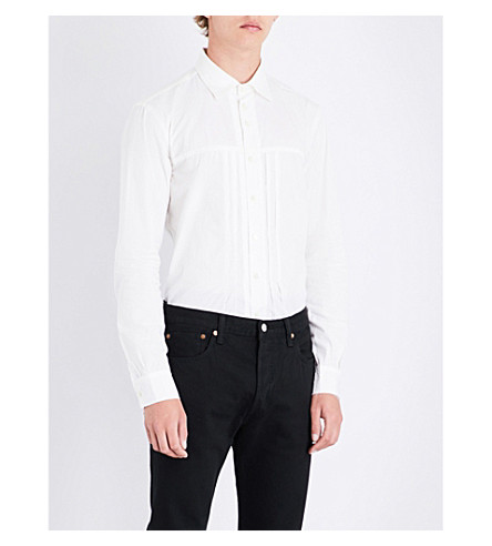 THE SOLOIST Pleated-panel regular-fit cotton and silk-blend shirt (White