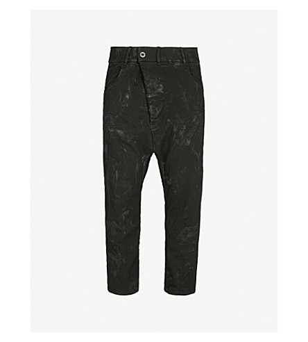 BORIS BIDJAN SABERI Dropped-crotch distressed relaxed-fit wide jeans (Black