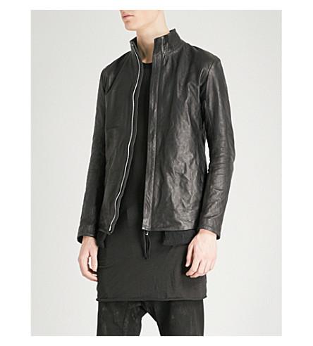 BORIS BIDJAN SABERI Mesh-lined leather jacket (Black