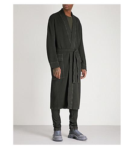 BORIS BIDJAN SABERI Faded cotton-blend robe jacket (Dark+grey