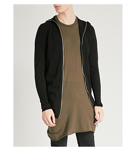BORIS BIDJAN SABERI Longline cotton-knitted cardigan (Black