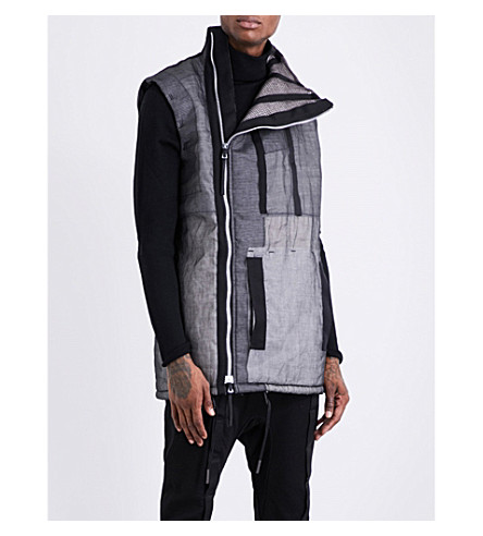 BORIS BIDJAN SABERI Layered cotton-down gilet (Obsidian+black
