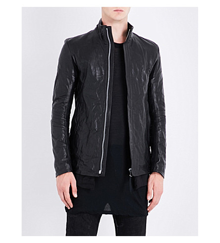 BORIS BIDJAN SABERI Stand-collar leather jacket (Obsidian+black