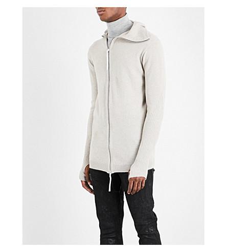 BORIS BIDJAN SABERI Hooded cashmere cardigan (Chalk