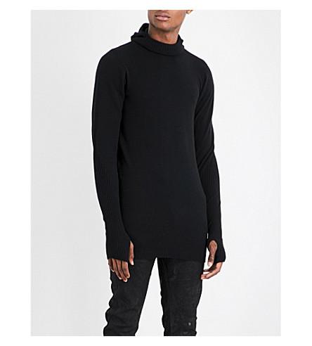 BORIS BIDJAN SABERI Longline cashmere turtleneck jumper (Obsidian+black
