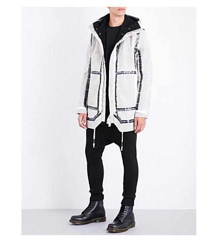 BORIS BIDJAN SABERI Taped seam-detailed hooded cotton coat (Dirty+chalk