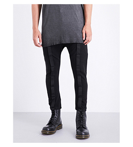 BORIS BIDJAN SABERI Tape seamed-detailed tapered mid-rise cotton trousers (Obsidian+black