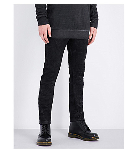BORIS BIDJAN SABERI Slim-fit skinny mid-rise stretch-cotton jeans (Obsidian+black