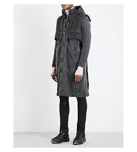 BORIS BIDJAN SABERI Layered cotton parka coat (Basalt+grey