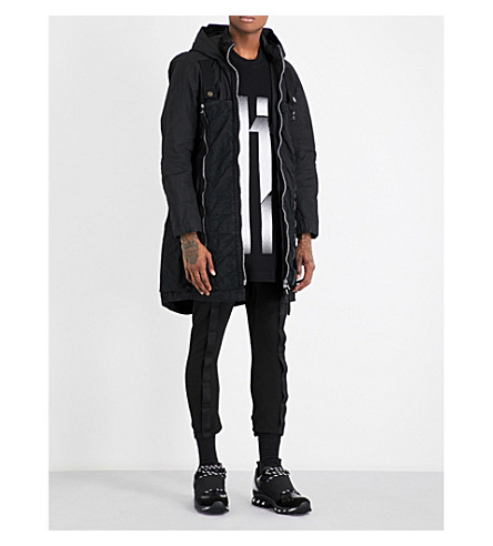 BORIS BIDJAN SABERI Folded cotton parka coat (Obsidian+black