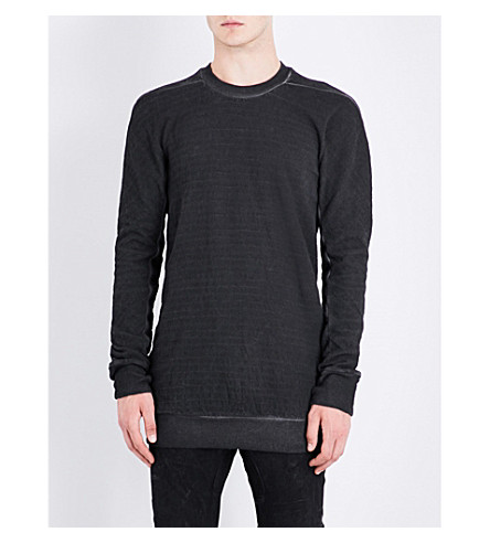BORIS BIDJAN SABERI Toggle-detail cotton-jersey sweatshirt (Basalt+grey
