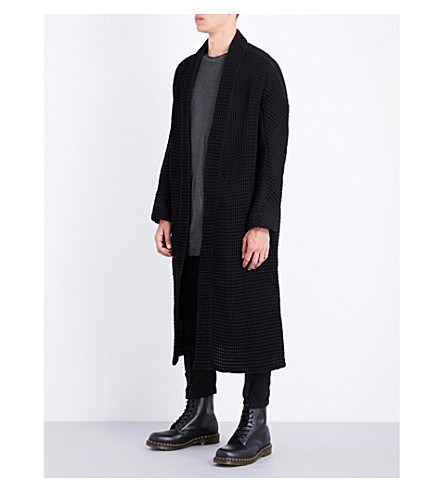 BORIS BIDJAN SABERI Waffle-knit cotton and wool-blend cardigan (Obsidian+black