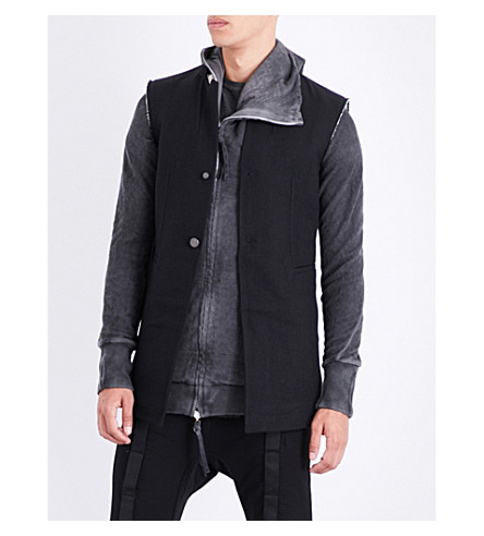 BORIS BIDJAN SABERI Toggle-detailed cotton waistcoat (Obsidian+black