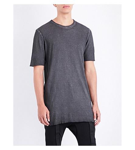 BORIS BIDJAN SABERI Toggle-detail cotton-jersey T-shirt (Basalt+grey