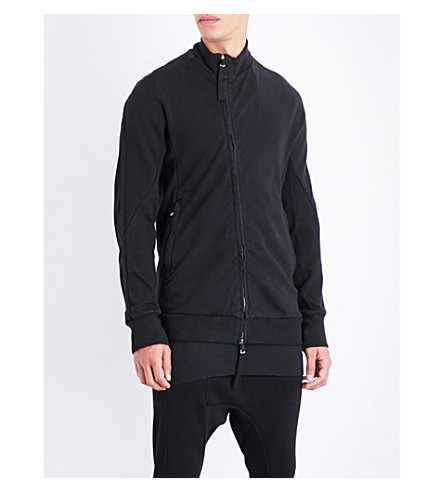 BORIS BIDJAN SABERI Stand-collar cotton-jersey jacket (Obsidian+black
