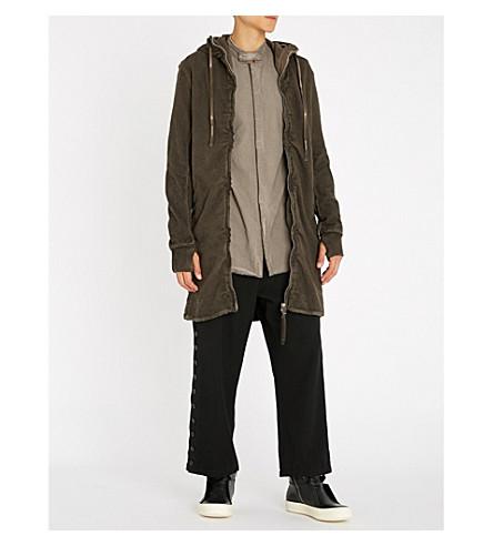 BORIS BIDJAN SABERI Hooded cotton-jersey parka jacket (Oil+brown